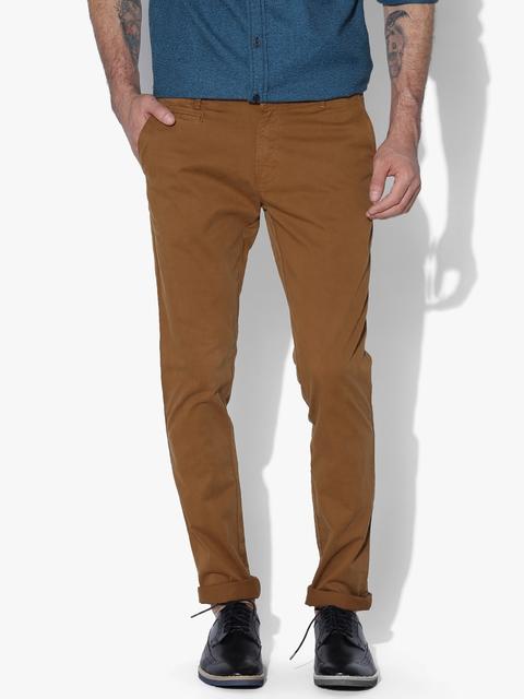Aeropostale Men Mustard Brown Super-Skinny Fit Solid Chinos