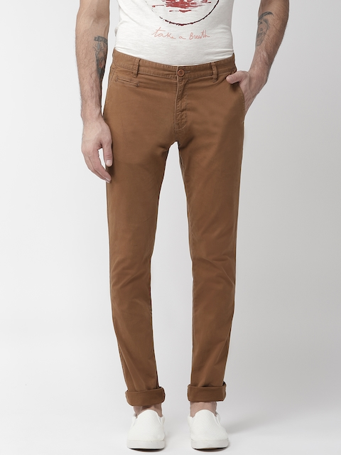 Aeropostale Men Mustard Brown Super Skinny Fit Solid Chinos
