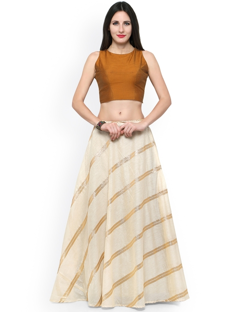 Inddus Cream-Coloured & Mustard Yellow Semi-Stitched Lehenga Choli