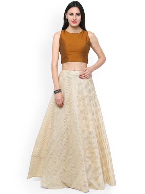 Inddus Cream-Coloured & Mustard Yellow Chanderi Cotton Semi-Stitched Lehenga Choli