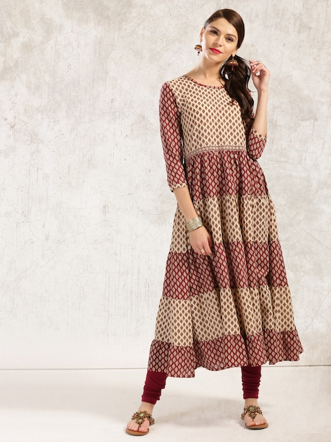 Anouk Women Beige & Maroon Printed Anarkali Kurta  available at myntra for Rs.379