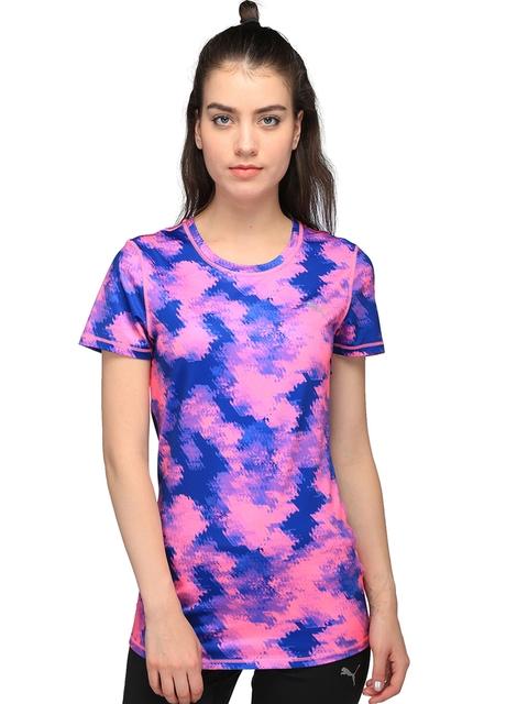 Puma Women Pink & Blue Essential Printed Round Neck T-shirt