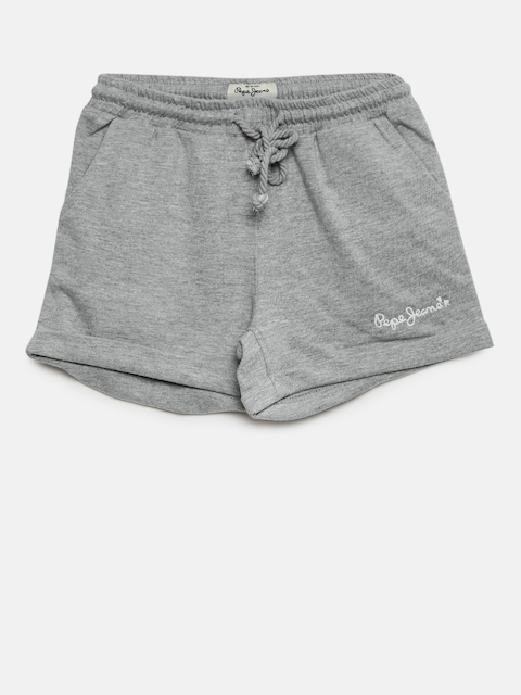 Pepe Jeans Girls Grey Melange Solid Regular Fit Shorts  available at myntra for Rs.479