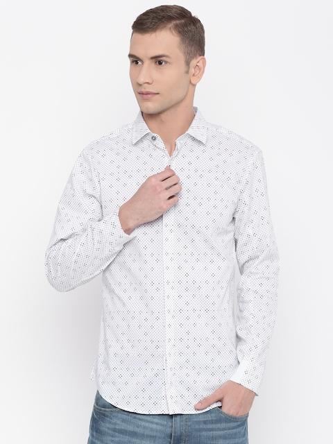 Peter England Casuals Men White Regular Fit Printed Formal Shirt
