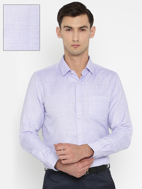 Peter England Men Purple Slim Fit Self-Design Formal Shirt