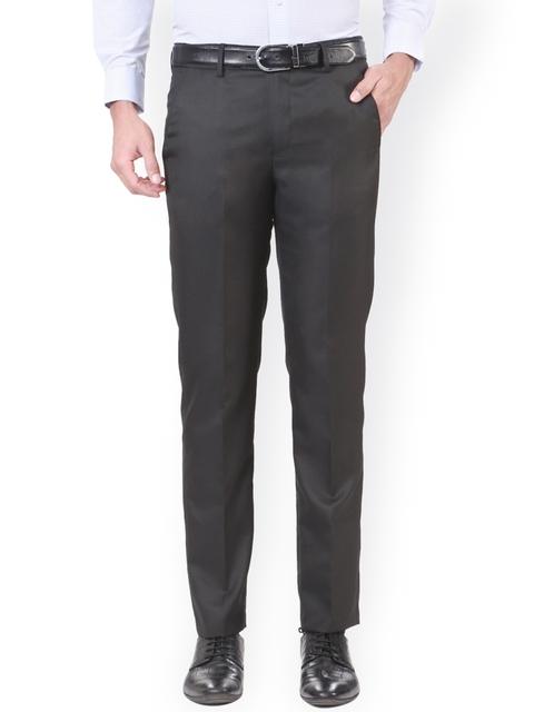 Peter England Men Black Slim Fit Regular Trousers