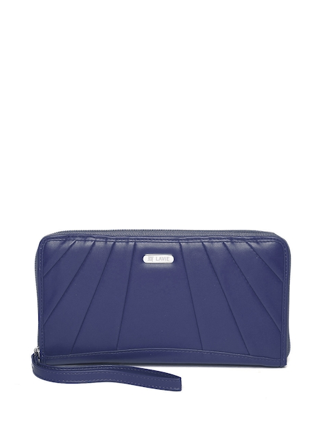 Lavie Women Navy Blue Solid Zip-Around Wallet