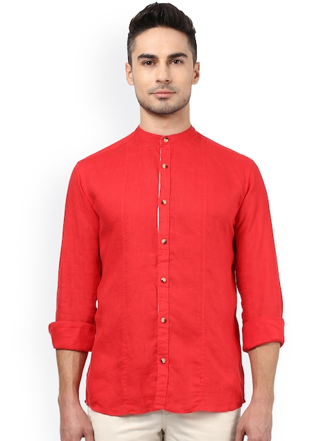 Park Avenue Red Slim Fit Casual Shirt