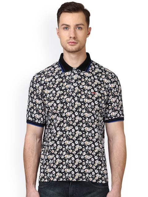 Park Avenue Men Black Floral Print Slim Fit Polo Collar T-shirt