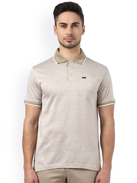 Park Avenue Men Beige Self-Design Slim Fit Polo Collar T-shirt