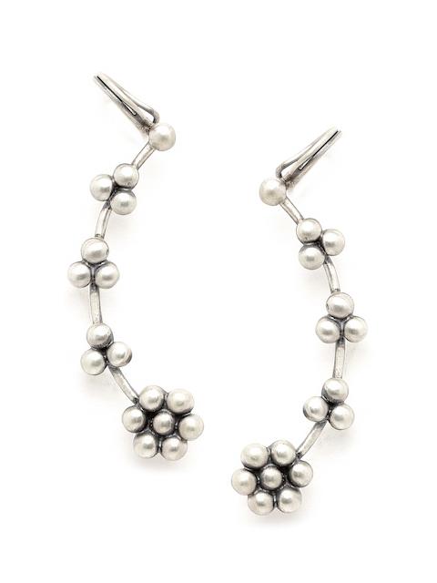 Quirksmith Silver Floral Ear Cuffs