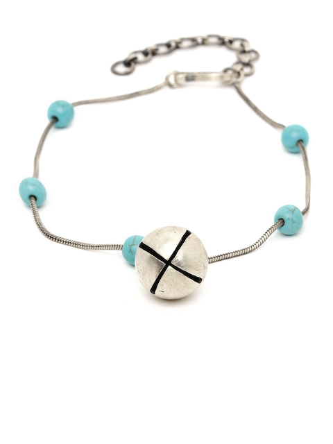 Quirksmith Silver-Toned & Blue Anklet