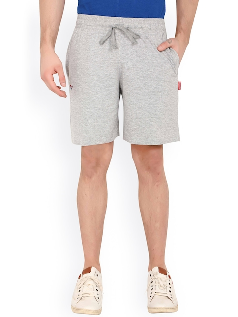 Valentine Men Grey Solid Regular Fit Sports Shorts  available at myntra for Rs.299