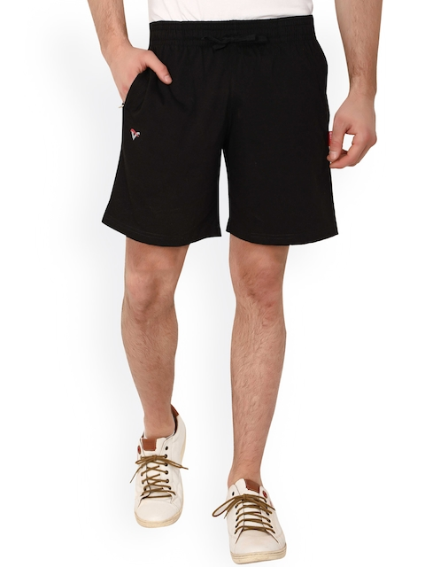 Valentine Men Black Solid Regular Fit Sports Shorts  available at myntra for Rs.299