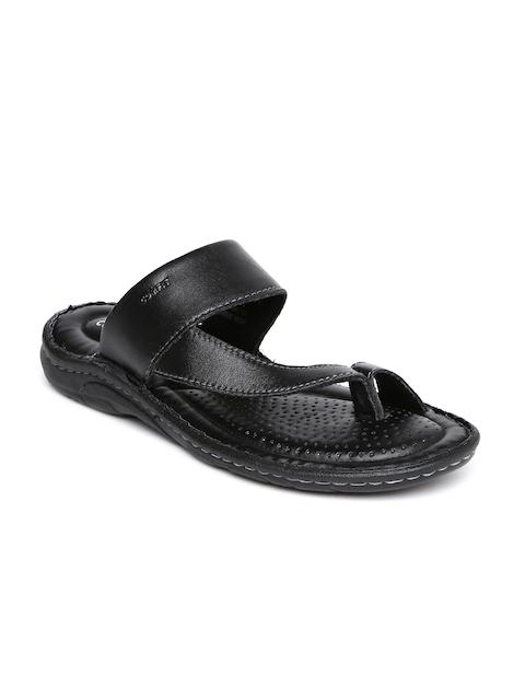 Bata Men Black Sporty Toering Leather Sandals
