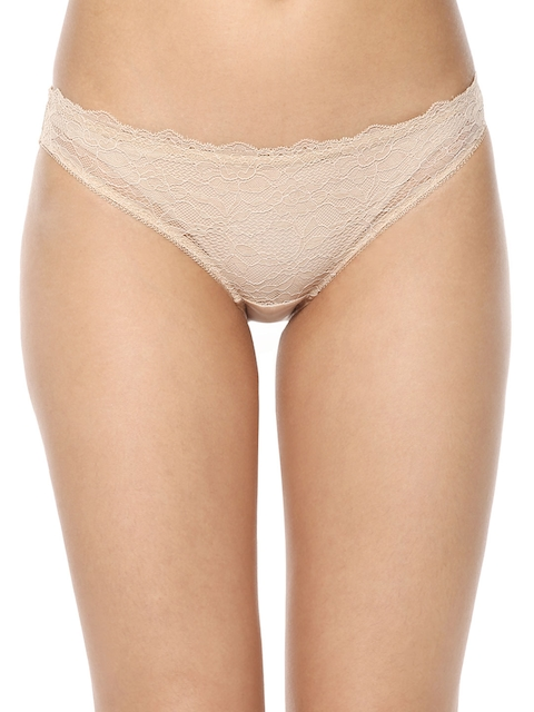 PrettySecrets Women Nude-Coloured Lace Bikini Briefs