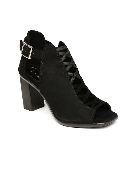 Catwalk - Block - Catwalk Women Black Solid Heeled Boots