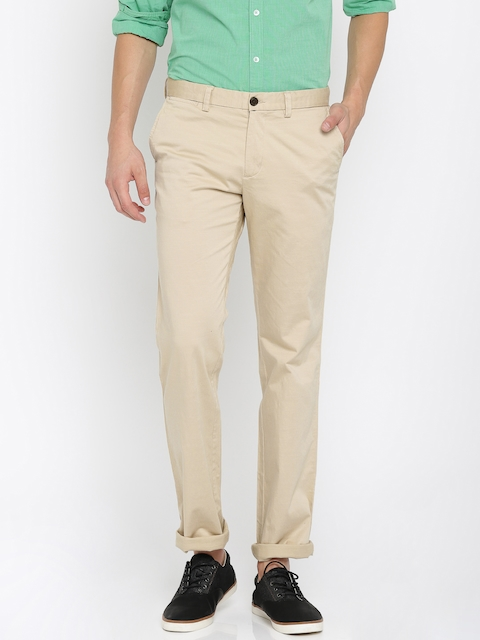 Indian Terrain Men Beige Kansas Straight Fit Solid Chinos