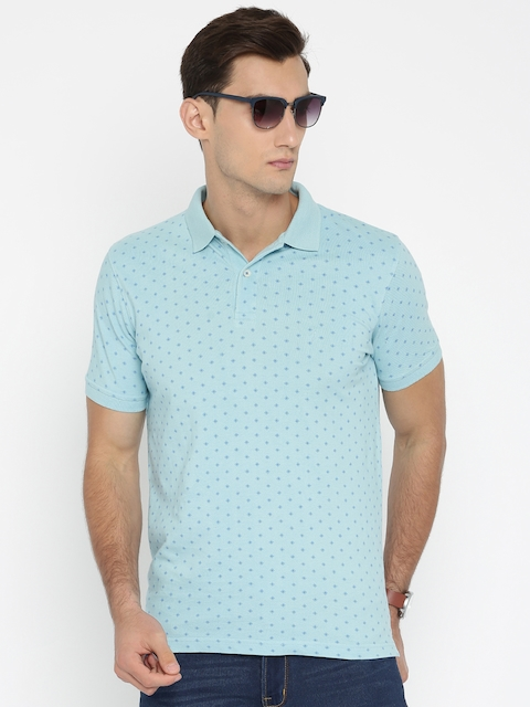 Indian Terrain Men Blue Printed Polo Collar T-shirt