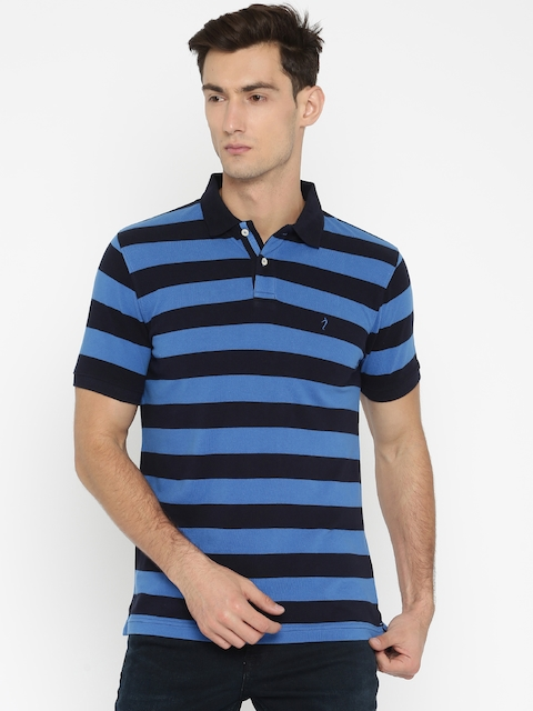 Indian Terrain Men Black & Blue Striped Polo Collar T-shirt