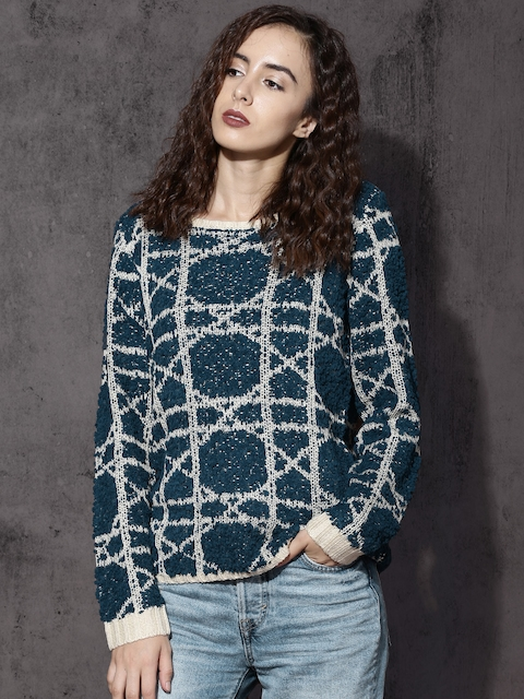 Roadster Women Teal & Cream Blue Self Design Pullover