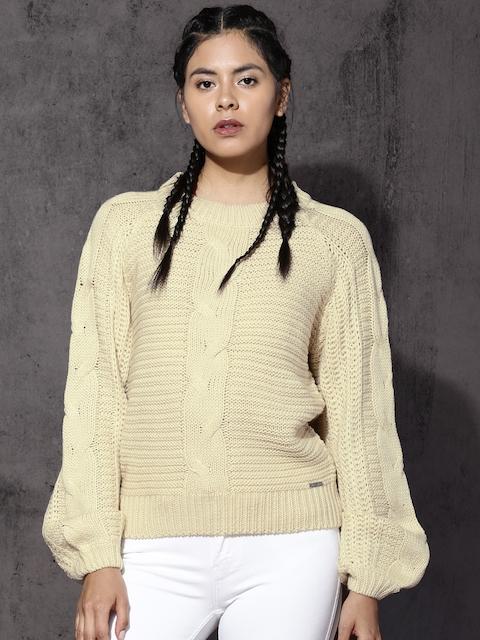 Roadster Women Cream Self Design Pullover