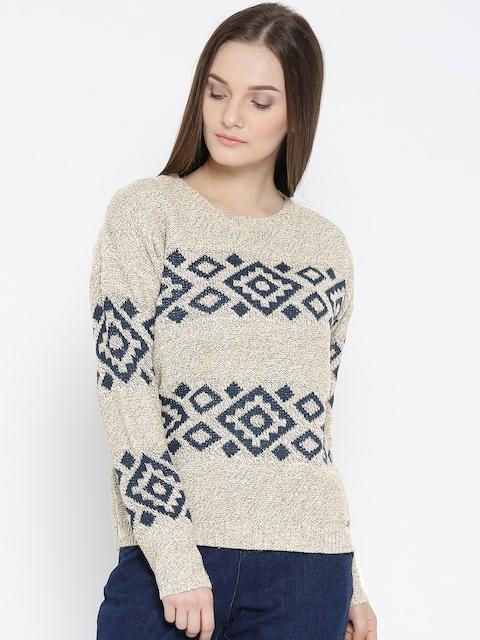 Roadster Women Beige & Navy Self-Design Sweater