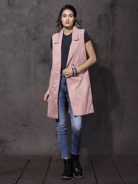 Roadster Women Mauve Solid Tailored Jacket