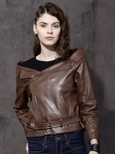 Roadster Women Brown Solid Biker Jacket