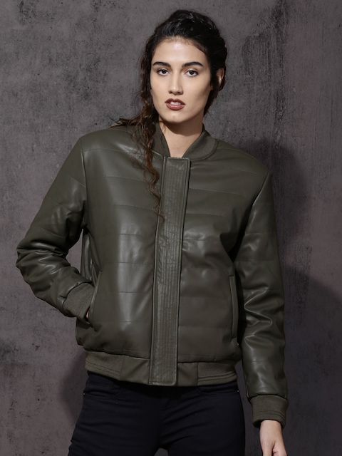 Roadster Women Olive Green Solid Bomber Jacket