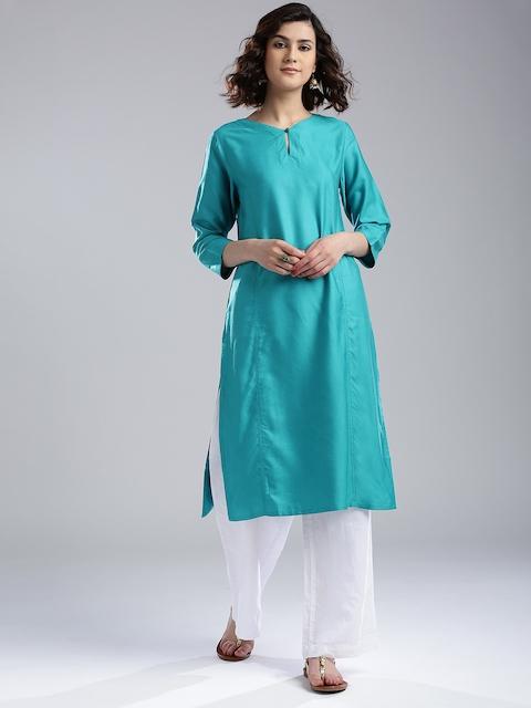 Fabindia Women Turquoise Blue Solid Straight Kurta