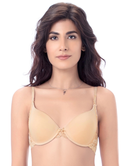 PrettySecrets Nude-Coloured Solid Underwired Heavily Padded Push-Up Bra