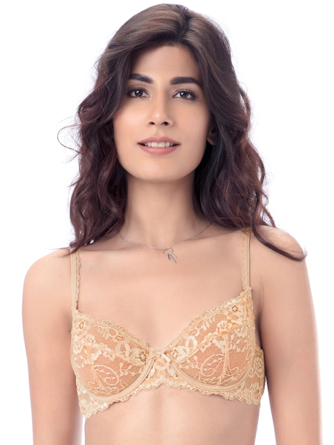 PrettySecrets Nude-Coloured Lace Underwired Non Padded Everyday Bra