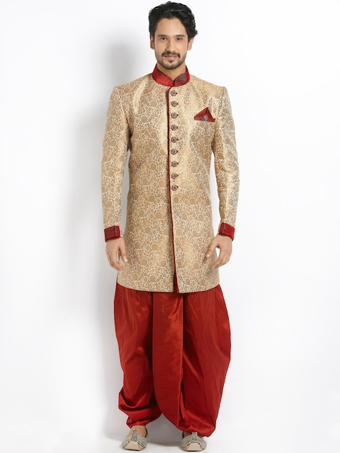 Manyavar Beige & Gold-Toned Silk Sherwani  available at myntra for Rs.14999
