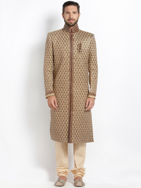 Manyavar Gold-Toned & Cream-Coloured Embellished Silk Sherwani  available at myntra for Rs.16999