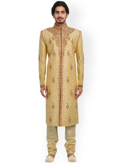 Manyavar Cream-Coloured Embroidered Silk Sherwani  available at myntra for Rs.9999