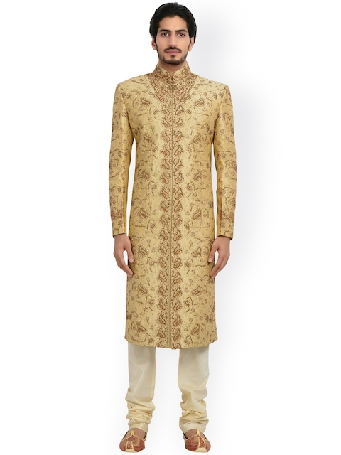 Manyavar Beige & Off-White Embellished Silk Sherwani  available at myntra for Rs.9999