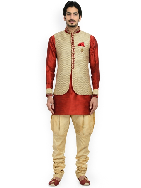 Manyavar Beige & Red Silk Sherwani  available at myntra for Rs.11999