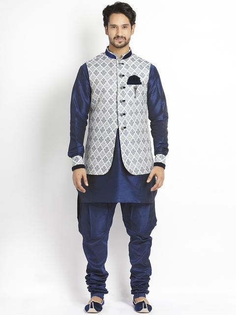 Manyavar Blue Silk Sherwani  available at myntra for Rs.11999