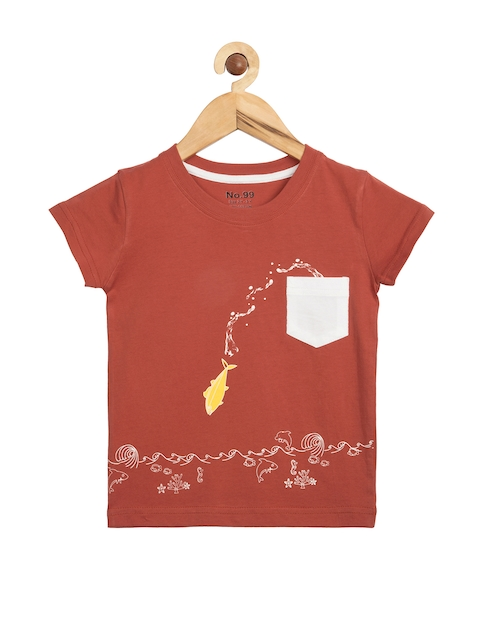 NO.99 Boys Rust Red Printed T-shirt  available at myntra for Rs.269