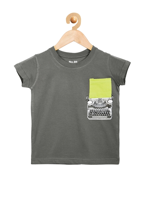 NO.99 Boys Grey Printed T-shirt  available at myntra for Rs.291
