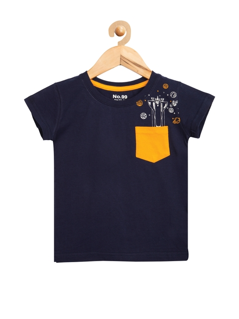 NO.99 Boys Navy Blue Printed T-shirt  available at myntra for Rs.291