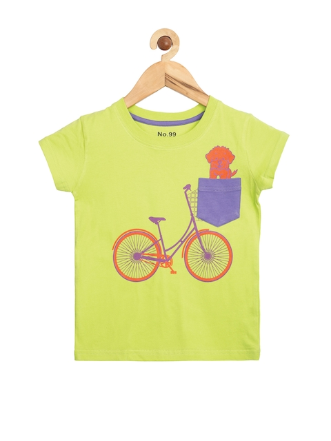 NO.99 Boys Lime Green Printed T-shirt  available at myntra for Rs.291