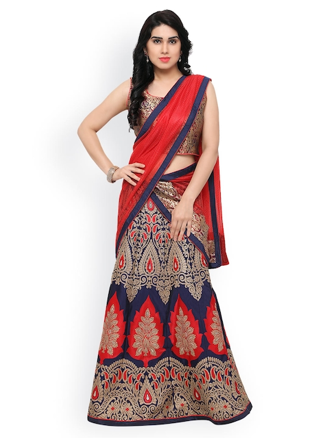 Styles Closet Blue Patterned Taffeta Lehenga Choli with Dupatta