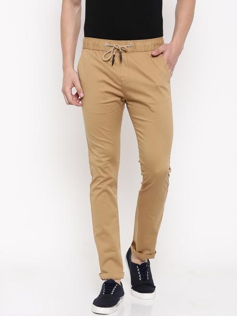 Nature Casuals Men Khaki Regular Fit Solid Regular Trousers