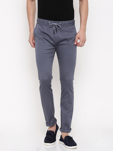 Nature Casuals Men Blue Solid Tapered Fit Regular Trousers
