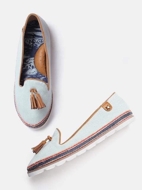 Mast & Harbour Women Blue Tassel Loafers