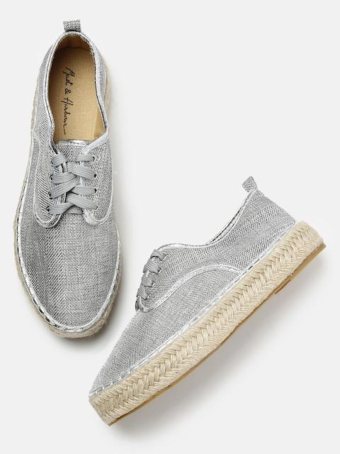 Mast & Harbour Women Metallic Grey Flatform Sneakers