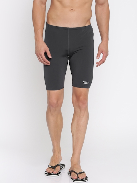 Speedo Men Grey Solid Swim Shorts 8007220012