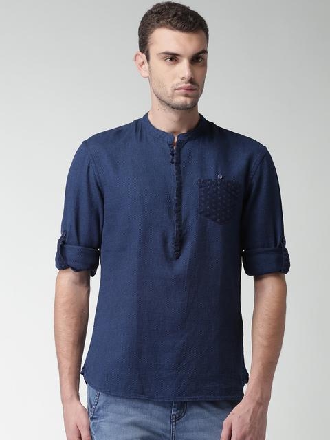 Celio Men Navy Blue Regular Fit Solid Casual Shirt